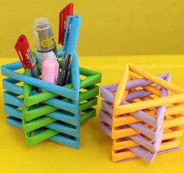 Tempat Pensil dari Kertas Warna-Warni yang Lucu